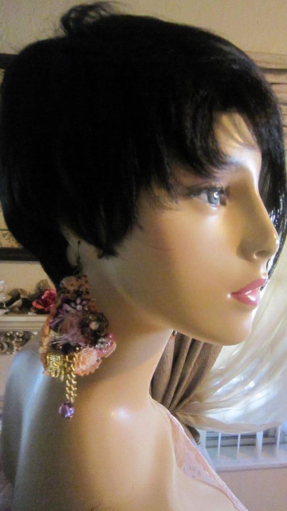 Gypsy Bohemian  Romantic. Peach Lace Earrings Bohemian girl Shabby Chic Tattered