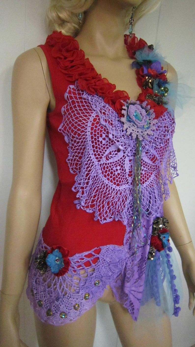 Unique Red Top Gypsy Vibrant Colors, Crochet Lace Art to Wear Rib Top Sequin Romantic Whimsy Top