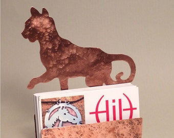 Cat card holder etsy cat business card holder hammered copper desk accessories cat lover gifts cat items colourmoves