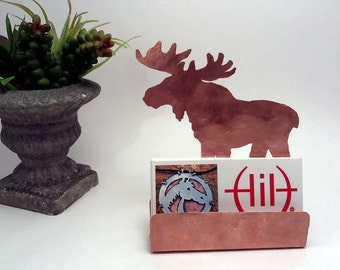 Moose card holder etsy moose business card holder hammered copper desk accessories moose lover gifts moose items gifts for animal lovers copper card holder colourmoves