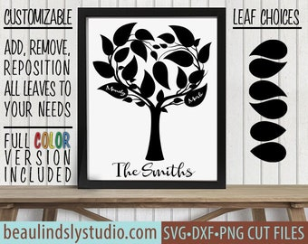 Family Tree SVG, Customize Leaf Positions, Personalize Leaves, DIY Wedding Gift - Anniversary Gift, svg File For Cricut, svg For Silhouette