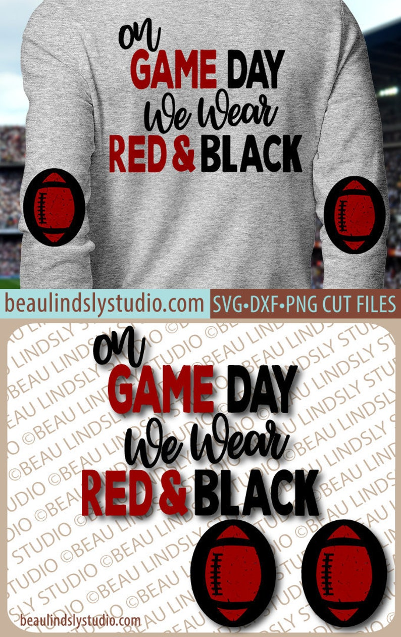 Red & Black Football SVG Game Day SVG Elbow Patch SVG File image 0