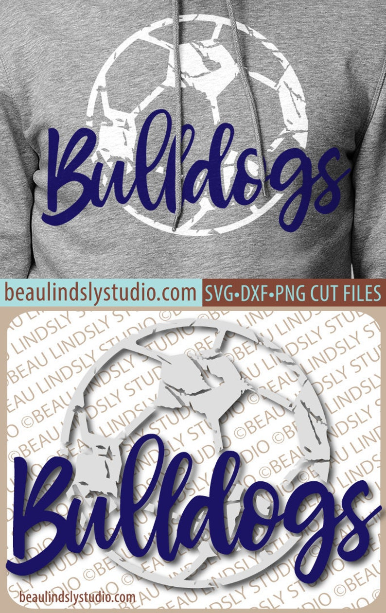 Bulldogs Soccer SVG File Grunge Bulldog SVG DIY Soccer Mom image 0