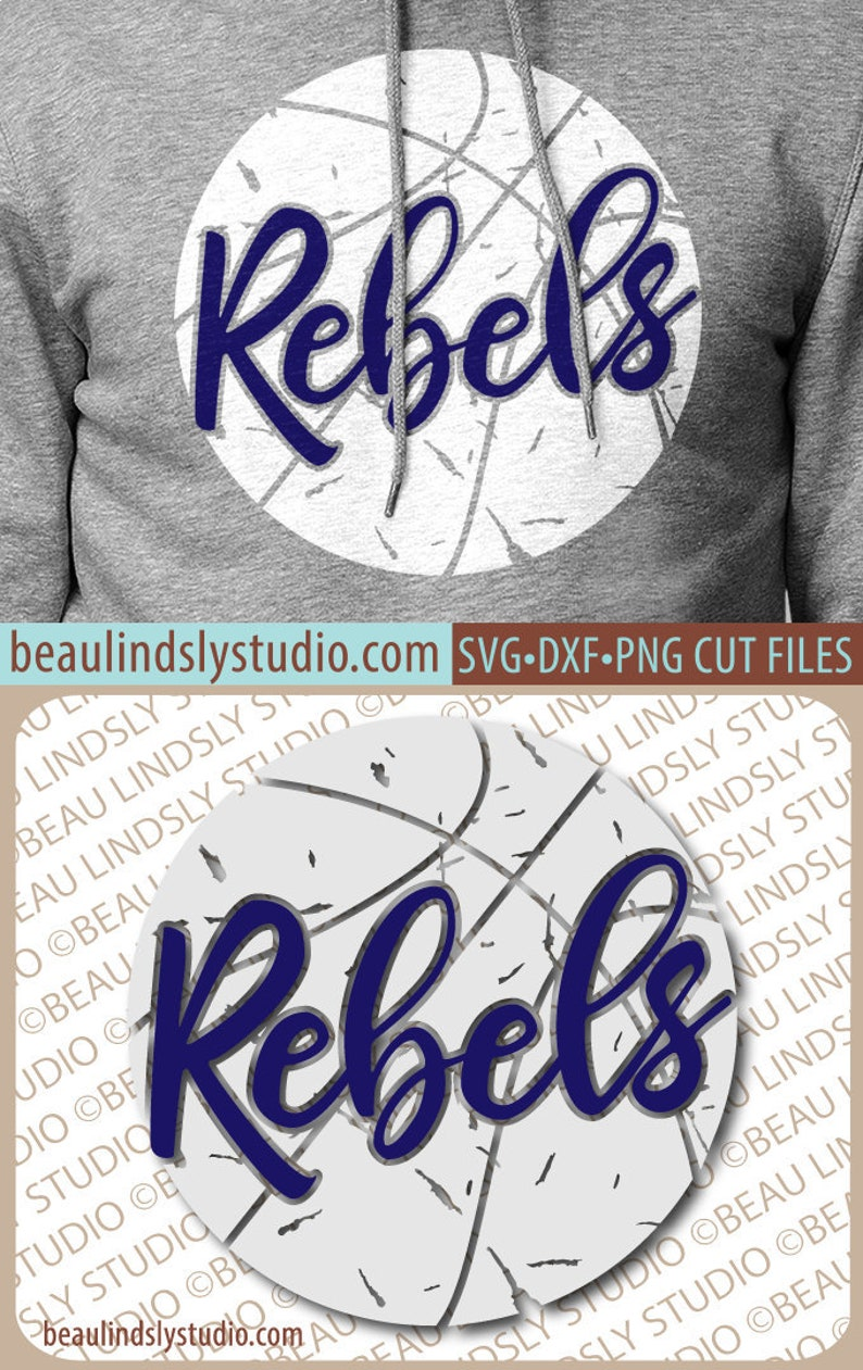 Rebels Basketball SVG File Grunge Rebel SVG DIY Basketball image 0