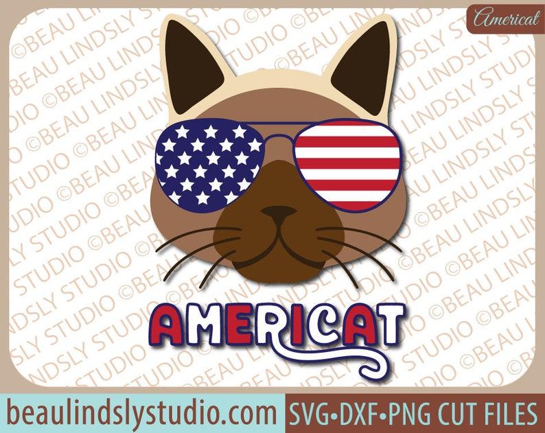 Funny Cat SVG Cutting File, SVG File For Silhouette, Patriotic svg, USA svg  file, 4th of July svg, Labor Day svg Format File, Cricut File