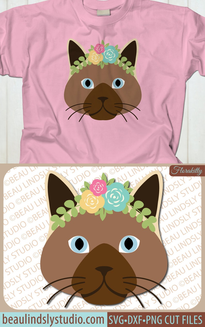 Download Cute Kitten SVG Siamese Cat SVG boho Cat With Flowers SVG ...