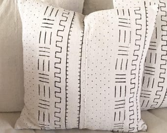 African Mudcloth Traditional Tribal Design  White with Black   Boho / Modern