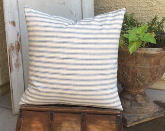 French Cottage  Cream and Blue  Ticking Pillow Cover   22x22  Ready to ship   Farmhouse / Nautical / Beachy