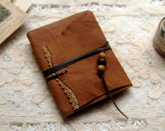 Autumn Stories - Mini Light Brown Leather Pocketbook, Recycled, Tea Stained Pages - OOAK