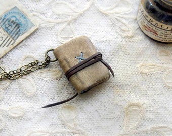 Overcast - Mini Wearable Book, Vintage Burnt Cream Leather, Tea Stained Pages, OOAK