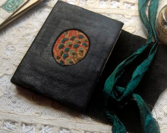 A Little Mystery - Mini Black Leather Pocketbook, Recycled, Vintage Fabric, Tea-Stained Pages - OOAK