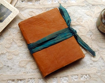 Desert Drifter - Burnt Orange Recycled Leather Pocketbook, Sari Silk, Tea-Stained Pages - OOAK