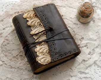 King of Hearts - Rustic Leather Journal, Dark Brown, Vintage Lace, Tea-Stained Pages, OOAK