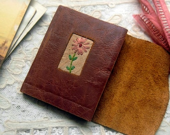 Daisy Days - Mini Brown Leather Pocketbook, Recycled, Vintage Linen, Tea Stained Pages - OOAK