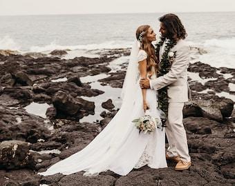French Lace Love Cap Sleeved Wedding Dress Romantic Wedding Gown Bohemian Wedding Dress