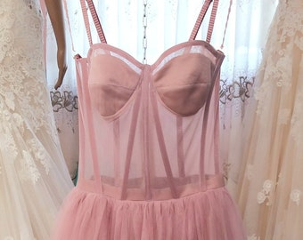 Tulle Bustier Dress,Buy 2 Get 1 Free,Prom Dress,Bridesmaids Dress,Tea Length Wedding Dress