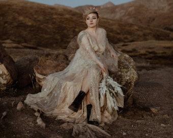 Star Dress,Star Wedding Dress,Gold Star Dress,Gold Wrap Dress,Celestial Wedding Dress