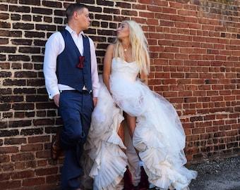 Wedding Dress,Tulle Bridal Dress,Rustic Bridal Dress