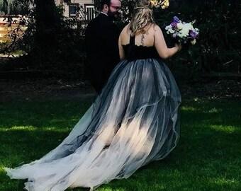 PLUS SIZE Wedding Dress,Black Wedding Dress