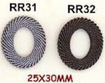 BRASS MESH RINGS 25X30MM Oval--One Mesh Ring