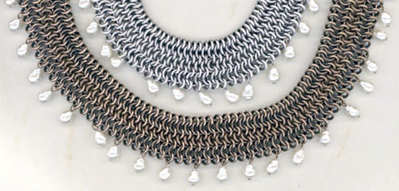 Beautiful DECORATIVE CHAIN MAIL sold by the foot Matte Gold Antique Sterling Plate over Brass Antique Bronze