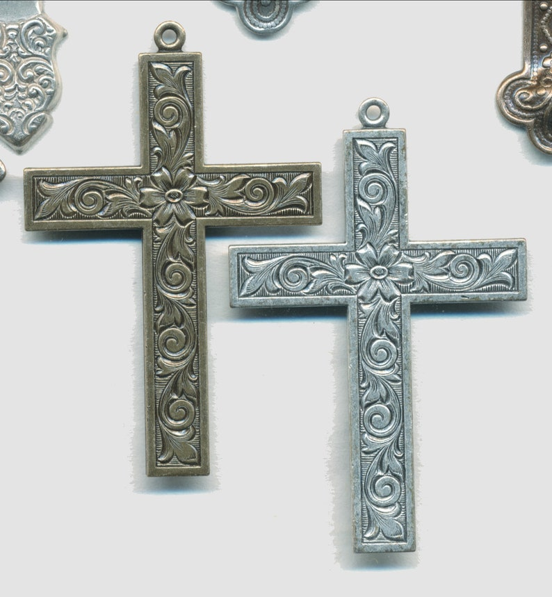 Special Sale--4 Choices 2 Pieces FAB CROSSES--STAMPING and Solid Brass 2-3 in Size
