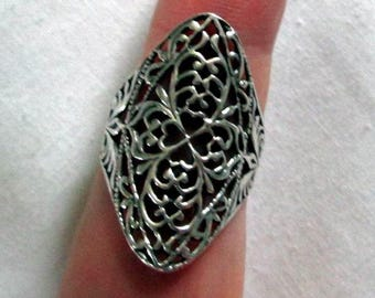 RING - Intricate - ELONGATED - FILIGREE - 925 - Sterling Silver -- Vintage - 7    miscellaneous190