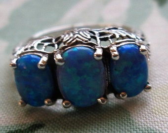 RING  - Triple - BLUE -  Fire OPAL  - Filigree -  925 - Sterling Silver - size 6  opal 535