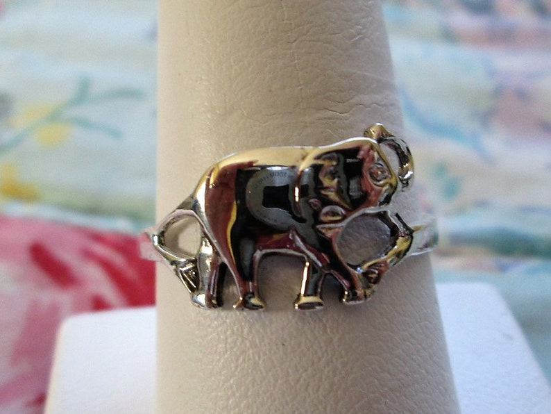 RING LUCKY Size 9 12  misc999 925 Sterling Silver Trunk up ELEPHANT