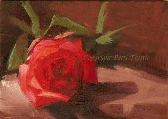 Interior design origial art gift ideas Red rose original oil painting for  home or office red rose small original oil painting gifts