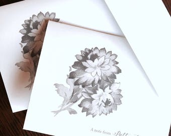 Vintage image thank you cards,Personalized stationery set,note cards,greeting cards,Calligraphy note card se
