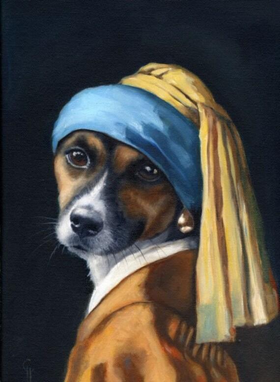 Jack Russell Terrier Vermeer Pearl Earring Painting Original Etsy