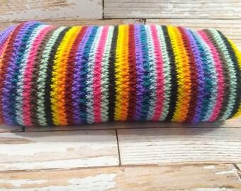 Full Size Blanket - Hand Crocheted Blanket - Multi colored blanket