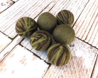 Felted Wool Dryer Balls - Camo Colored Eco-Friendly Laundry Balls - Chemical Free fabric softener - cat toys - static free laundry