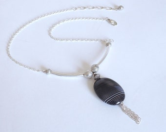Botswana Agate & Silver Pendant Necklace with Extender (Item W75)