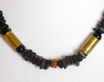 Brass & Black Wood Upcycled Bullet Shell Necklace (Item Z 43)