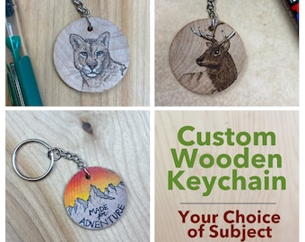 Custom Keychain /Zipper Pull with Subject of your Choice- Hand-Drawn (2 week lead time!)