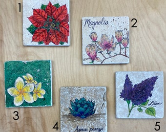 Colorful Flower, Hand-Drawn Travertine Tile Coaster with Cork Back (choose one)