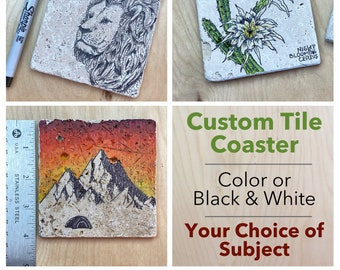 Custom Coaster with subject of your choice- Hand-Drawn Travertine Tile Coaster with Cork Back (2 week lead time!)
