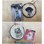 Custom Pet Portrait Ornament - Hand drawn with ink on a wood slice, based on your photo- 2 WEEK LEAD TIME!
