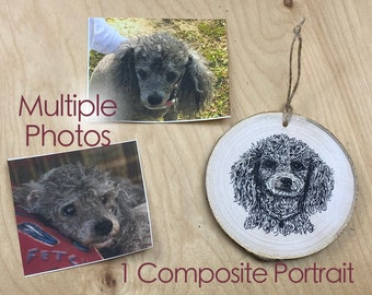 COMPOSITE Pet Portrait Ornament  - Hand drawn with ink on a wood slice, based on several photos of your pet. (2 week lead time!)