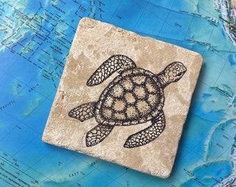 Sea Turtle- Hand-Drawn Travertine Tile Coaster with Cork Back
