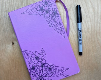 Plumeria- Hand-drawn Flowers on Hard Cover Dotted Book
