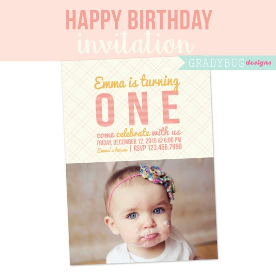 Birthday Invitation One Years Old Party Happy