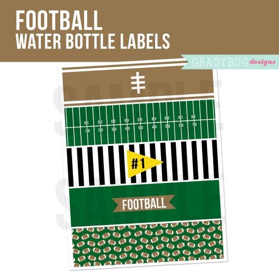 Superbowl Printable Football Water Bottle Labels