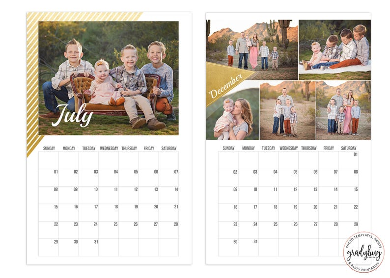 2019 Photo Calendar Template 11x17, Calendar Template, Gold Foil, Photo  Calendar, 2019 Custom Calendar, 2019 Calendar, Photo Template