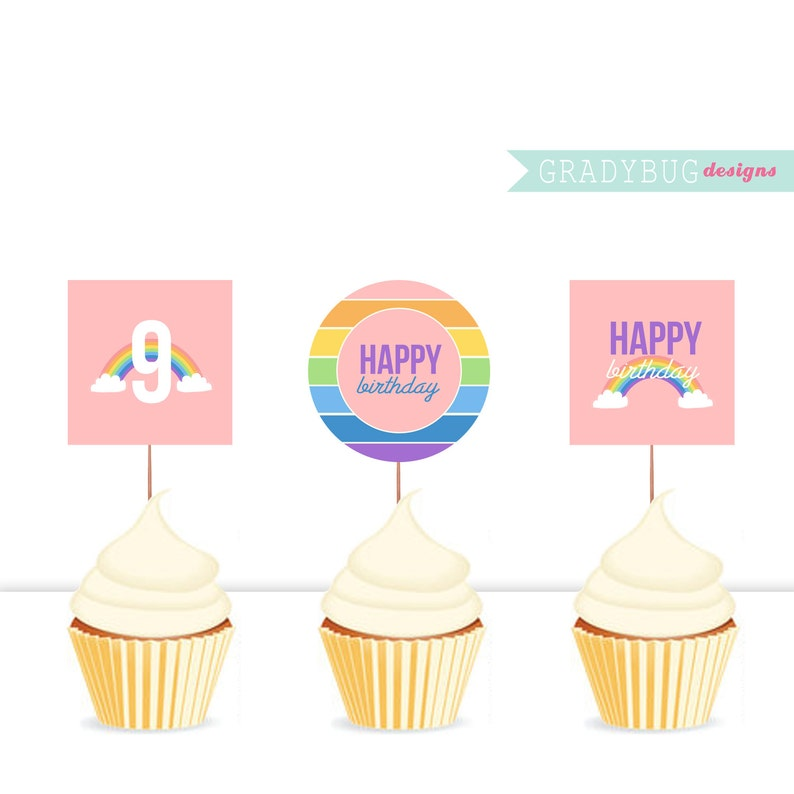 Party Printable Happy Birthday Cupcake Toppers