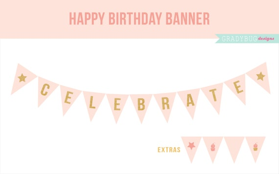party printable happy birthday banner printable party etsy