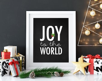 Joy to the World Print, Christmas Print, Digital Print, Merry Christmas, printable quote, Christmas Decor, Chalkboard Print
