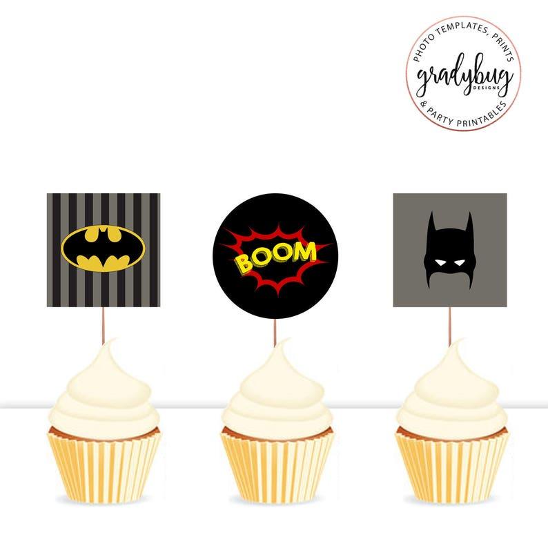 Batman Party Cupcake Toppers Superhero Printable